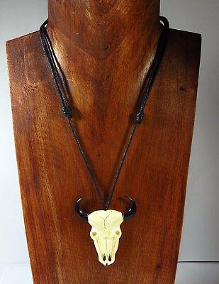 Coole Naturschmuck Halskette Stierschädel Büffelhorn Schwarz Neu Herrenkette Hohe Belastbarkeit