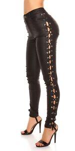 KouCla-High-Waist-Wetlook-Pantalon-avec-lacets-et-strass
