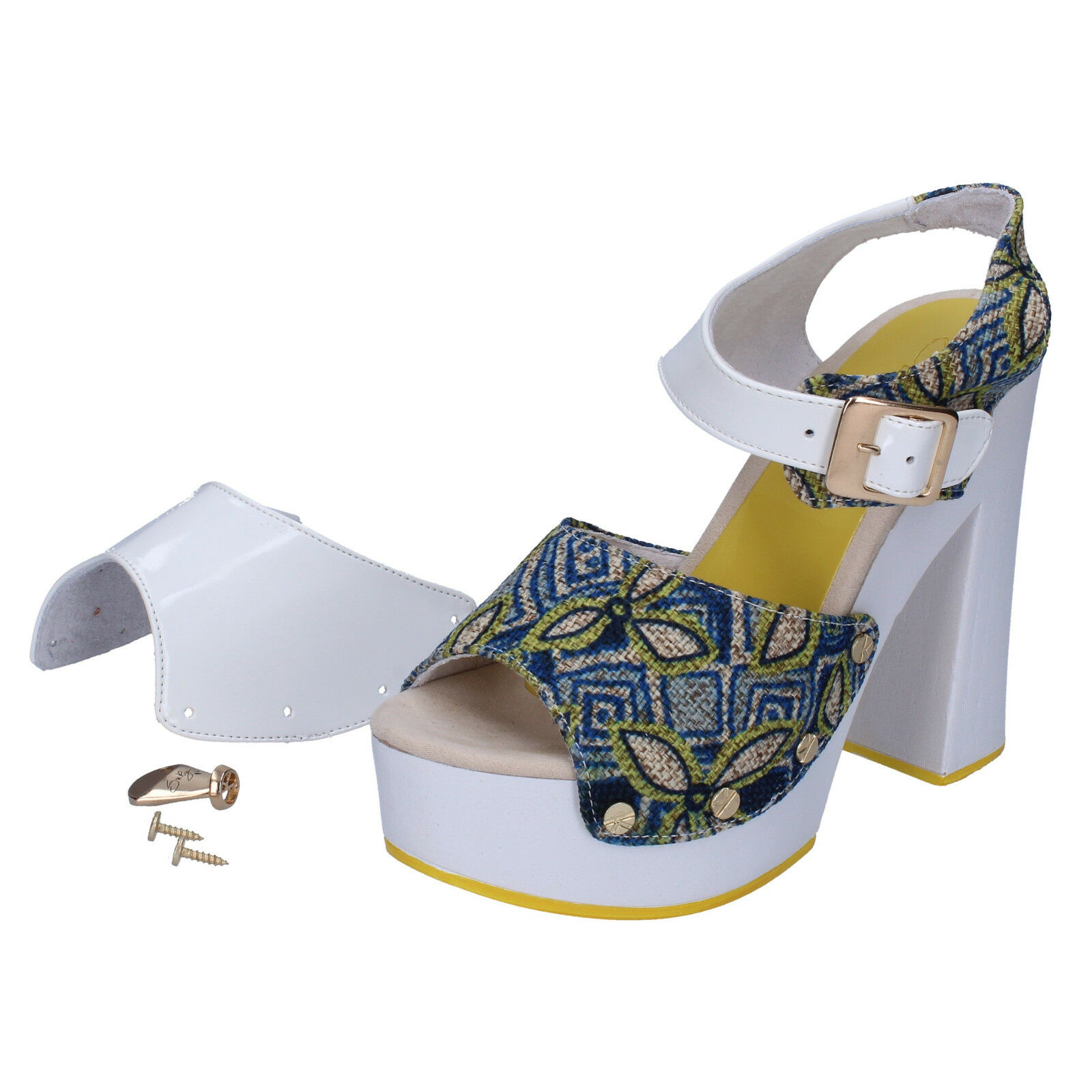 Scarpe donna SUKY BRAND 37 sandali blu ( bianco ) tessuto vernice AC487-37 | Up-to-date Stile  | Uomo/Donna Scarpa