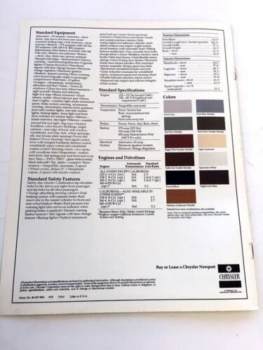 1979 Chrysler Newport Original Car Sales Brochure Catalog