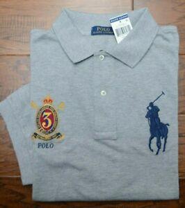 Polo Ralph Lauren Men's Big Pony Grey Cotton Polo Shirt Big & Tall LT