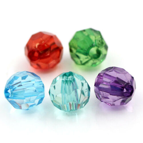 500PCS Wholesale Lots Acrylic Spacer Beads Faceted Round Ball Mixed 6mmx6mm GW