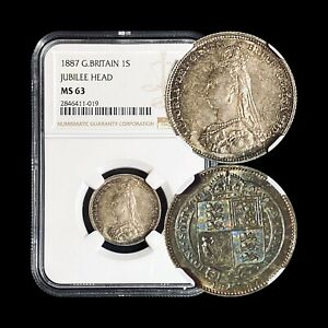 1887-Great-Britain-Shilling-Silver-NGC-MS-63-Choice-UNC-Rainbow-Toned
