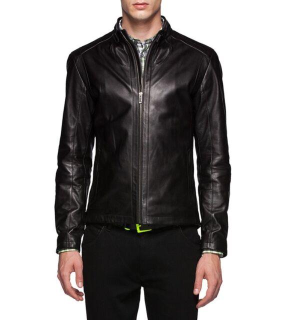 8bffe0d558 Zegna Sport Leather Biker Jacket Size Large Slim Fit $2500