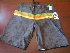 mens-lifted-research-group-LRG-boardshorts-36-nwt-striped-gray
