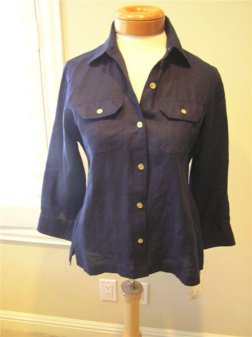 Ralph Lauren Nautical NAVY Blau LINEN down button shirt w  Gold anchor  4 P NEW