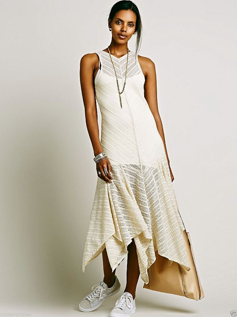 New Free People Intimately Lila Lace Maxi Slip Dress Vintage Ivory Sheer M