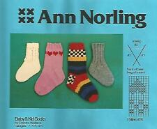 Baby & Kid Socks (1-13 shoe size) Knitting Instruction Pattern Ann Norling