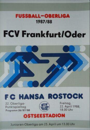 Programm 1987//88 FC Hansa Rostock Vorwärts Frankfurt
