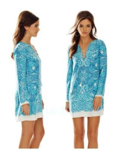 NWT LILLY PULITZER ASHBY TUNIC DRESS XS,S,M  BLUE TIPSY TURKS ENGINEERED