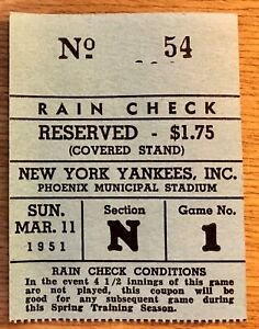 1951-NY-Yankees-Ticket-Stub-Mantle-039-s-2nd-Game-ever-Exhibition-03-11-51-Phoenix