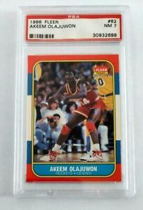 Hakeem Akeem Olajuwon 1986 Fleer RC PSA NM 7 Houston Rockets #82 Sharp