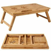 new Bamboo Bed Tray Table Height Adjustable Home Bedroom Lap Desk Laptop Holder