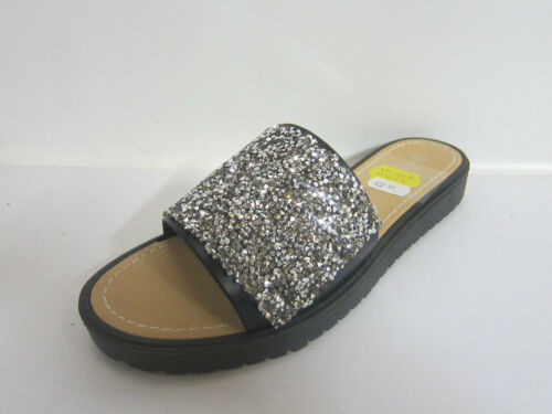 LADIES SAVANNAH SYNTHETIC SLIP ON SANDALS WITH GLITTER F0832