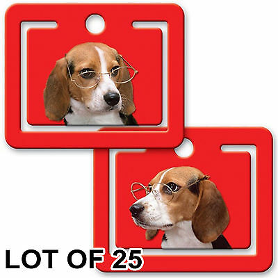 Beagle Dog Glasses Bookmark Page Clip Lenticular Flip LOT OF 25 #PM01-246-S25#