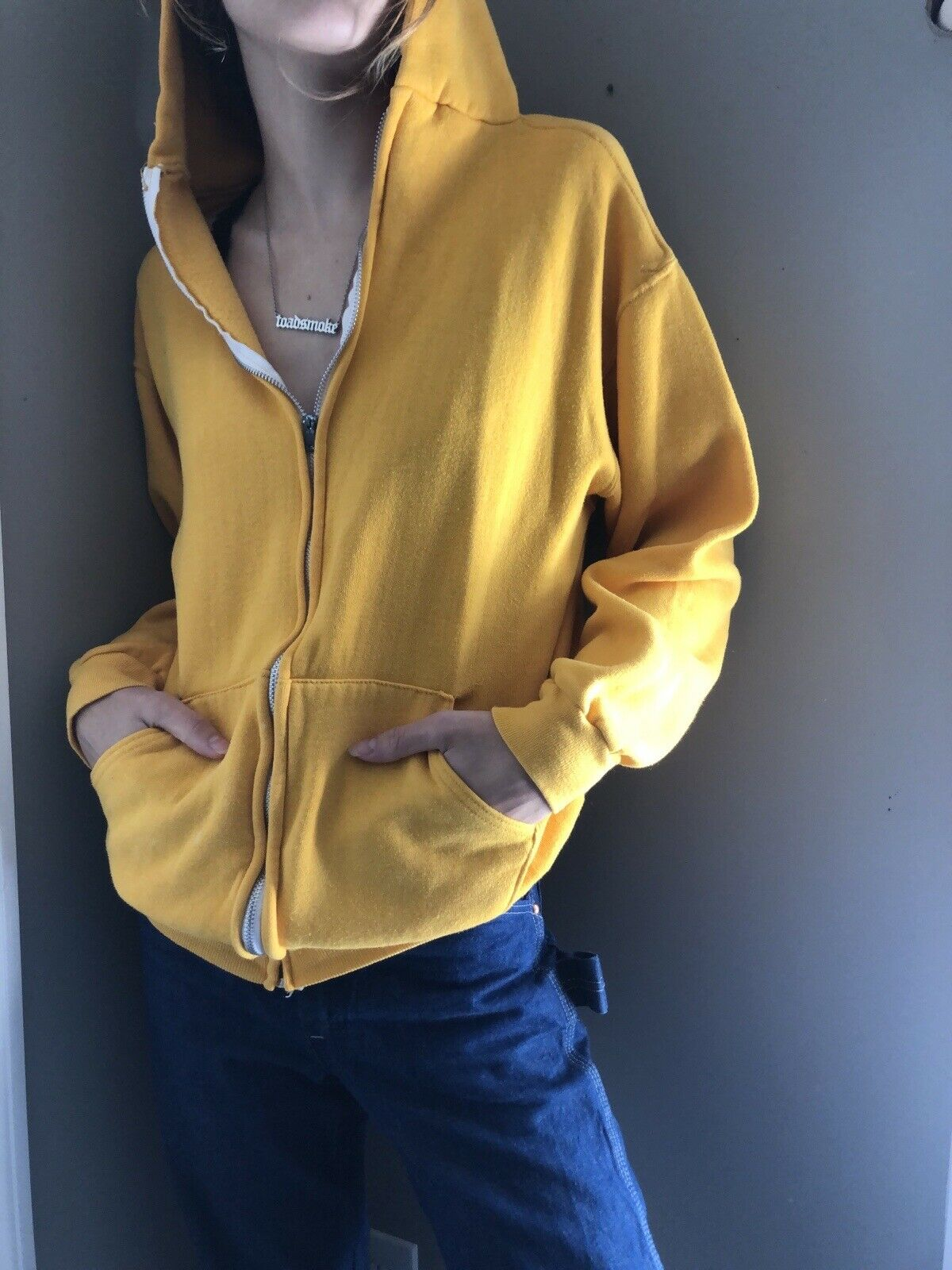 Vtg 70's 80's Russell Athletic Yellow Zip up Hood… - image 3