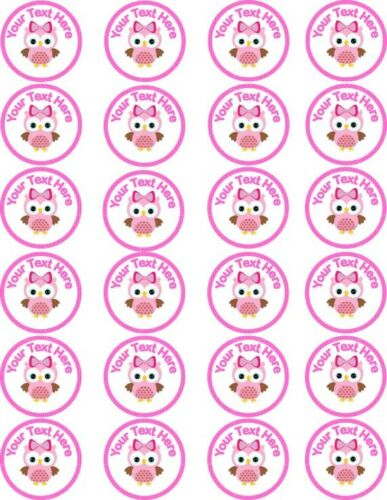 Personalised Christening Baby Shower Owl Pink Cupcake Wafer Paper Toppers x 24