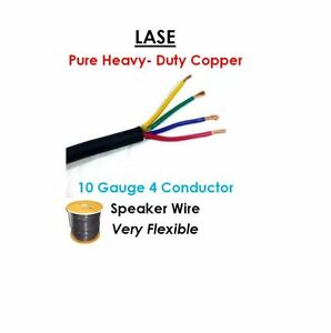4 Conductor Speaker Wire | 100 Meters 328 Feet Lase 10 Awg Gauge 4 Conductor Heavy Duty
