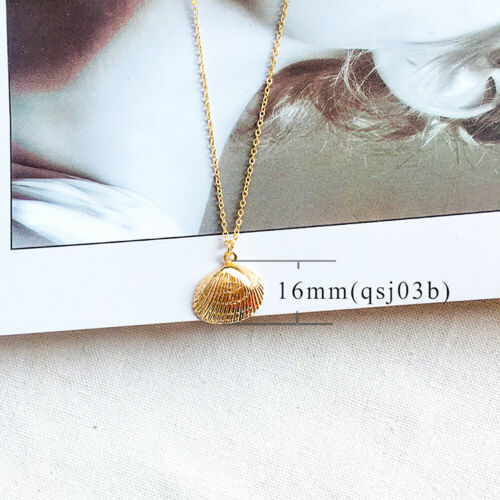 Fashion Women Gold Plated Conch Sea Shell Cowrie Pendant Chain Necklace Jewelry