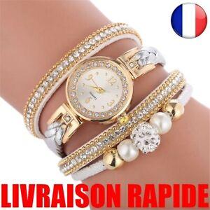 Montre-Femme-Ronde-Analogique-Quartz-Bracelet-Cadeau-Haute-Qualite-Bijoux-Mode