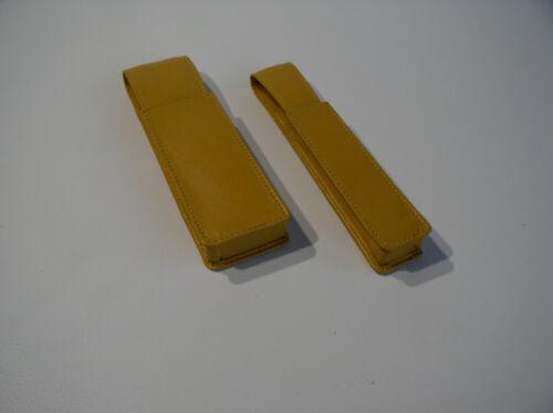 Kunstleder Doppelpack Stiftetui für insgesamt 3 Schreibgeräte safrangelb
