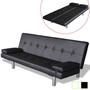 Details Zu Sofabett Mit 2 Kissen Kunstleder Sofa Couch Schlafsofa Mehrere Auswahl Schwarz
