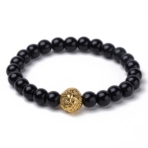 Men Lion Head Crown Bracelets 8mm Beads Cuff Charm Bangle Bracelet Jewelry PDH
