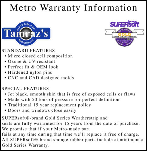 66 67 Coronet Satellite Weatherstrip Seal Kit 5 Pieces Metro New 2 Door Hardtop