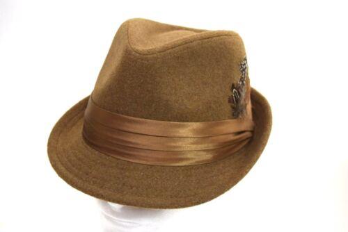 Men/'s Fedora Hat Cuban Style Casual Upturn Short Brim Pecan Brown Wool Blend