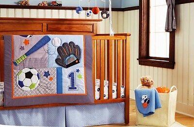 Baby 8pcs Crib Bedding Set Unisex Baseball Blue  Christmas Gift Woven Cotton