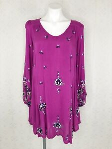 Free-People-Size-S-Lilac-Combo-Oxford-Floral-Embroidered-Swing-Mini-Dress-Boho