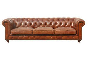 Details about Brown Leather Tufted Sofa