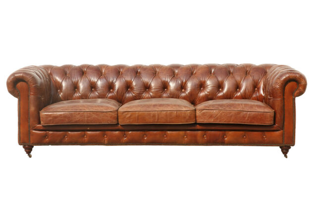 Brown Leather Tufted Sofa For Online