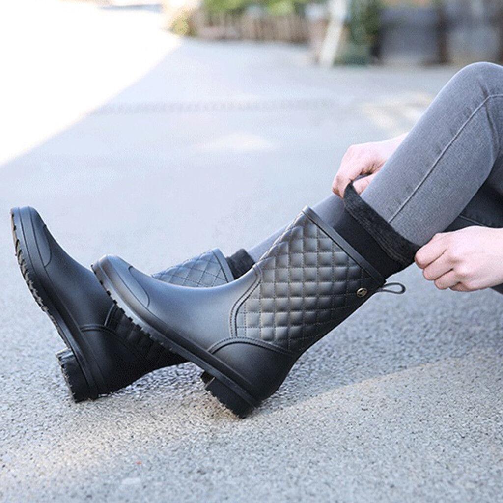 Women`s Black Rain Boots Waterproof Mid Calf Non-slip Work Shoes