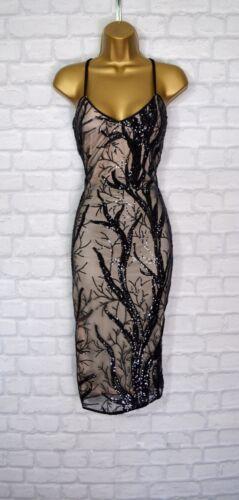 ~JAYLA~ Black Sequin Lace Bodycon Evening Midi Pencil Party Dress 6 8 10 12 14