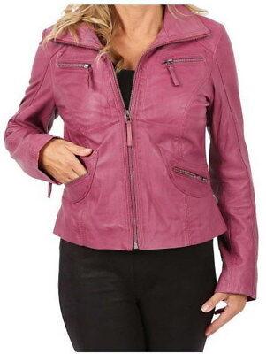 7eleven Damen Lederjacke Jacke Schafsleder Gr. 38 Farbe: rosa NEU