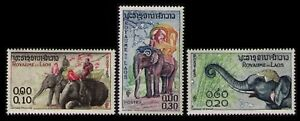 LAOS-1958-ELEPHANTS-41-43-VERY-FINE-MNH-NICE-SET-OF-3-TOPICAL-STAMPS-ENGRAVED