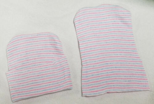 12 NEW FULL TERM BABY HOSPITAL HATS 2 PLY POLYESTER BLUE PINK WHITE USA MADE