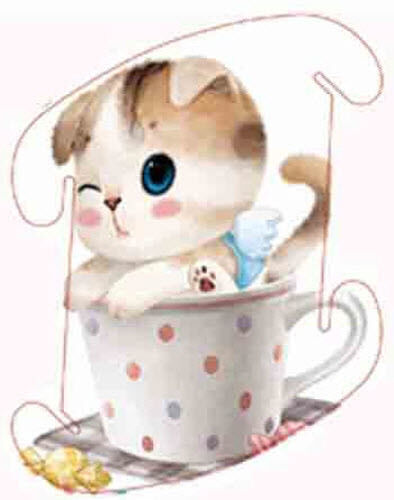 Kitten in Teacup Med 30cm Infinity Lamp IQ Puzzle Jigsaw LuvaLamps 30 Pieces USA