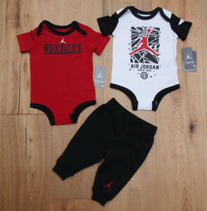 2bc6235da65 Air Jordan Baby Boy 2 Short Sleeve Bodysuits & Pants Set ~Black, Red ...