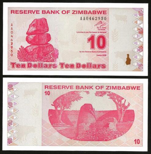 UNC Pick 94 ZIMBABWE 10 Dollars 2009