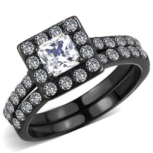 Women/'s 1ct Princess AAA Grade Cubic Zircon CZ Black IP Stainless Ring TK3458
