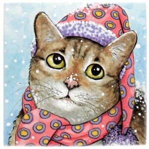 Large-Ceramic-tile-6x6-Cat-627-629-631-642-winter-snow-funny-art-painting-LDumas
