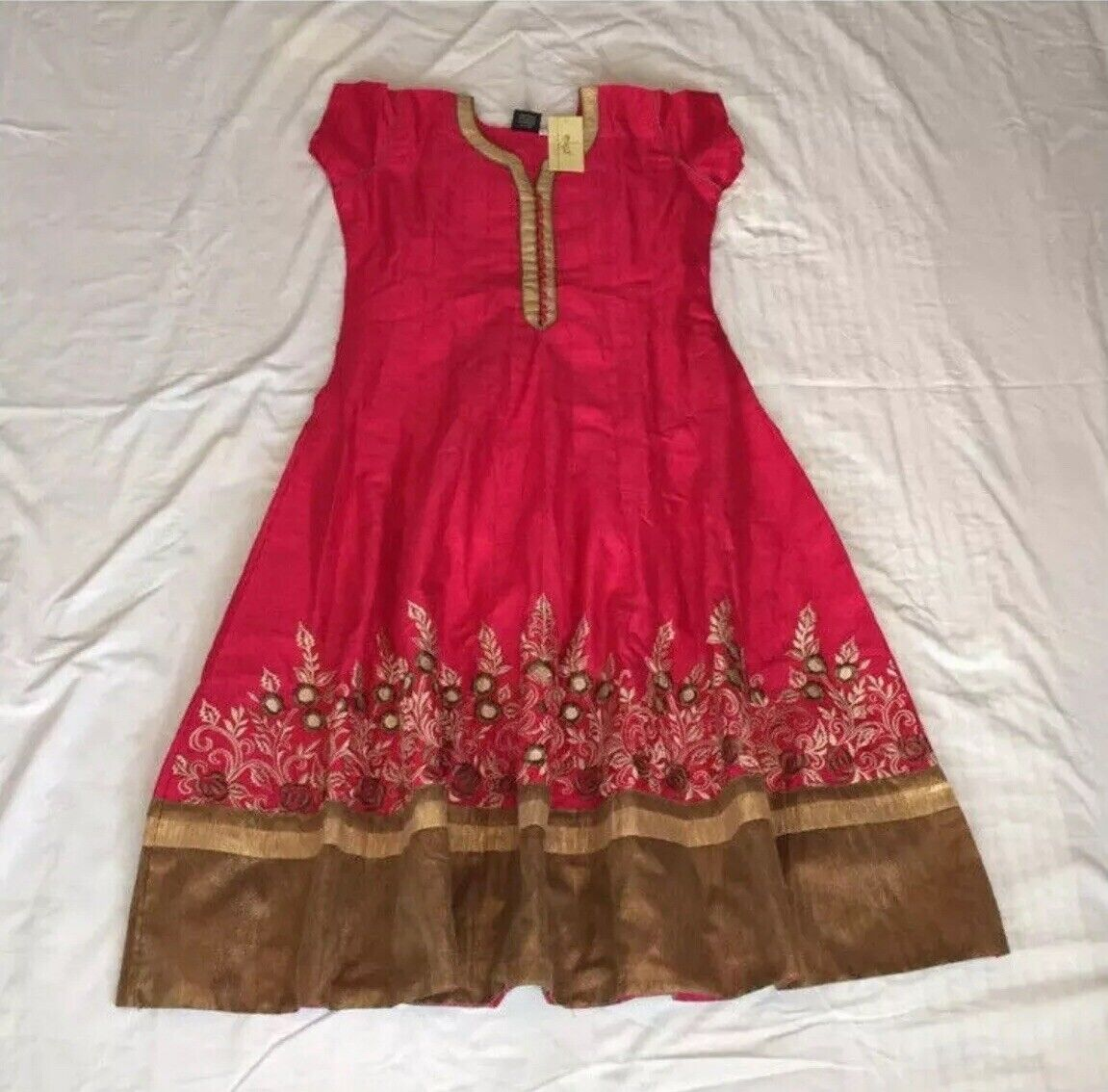 NWT Pink Embroided Salwar with Dupatta: Indian Size XL