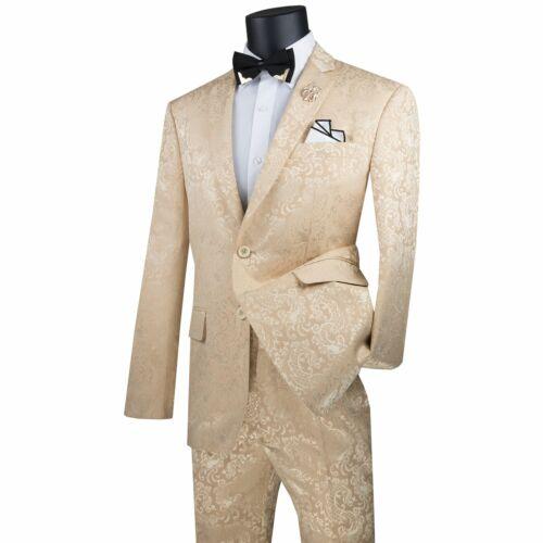 VINCI Men/'s Beige Textured Tonal Paisley 2 Button Slim Fit Suit NEW
