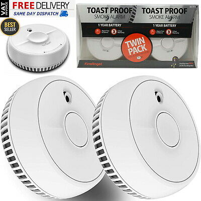 3 x Smoke Alarm and Test Button with Batteries Twin Pack