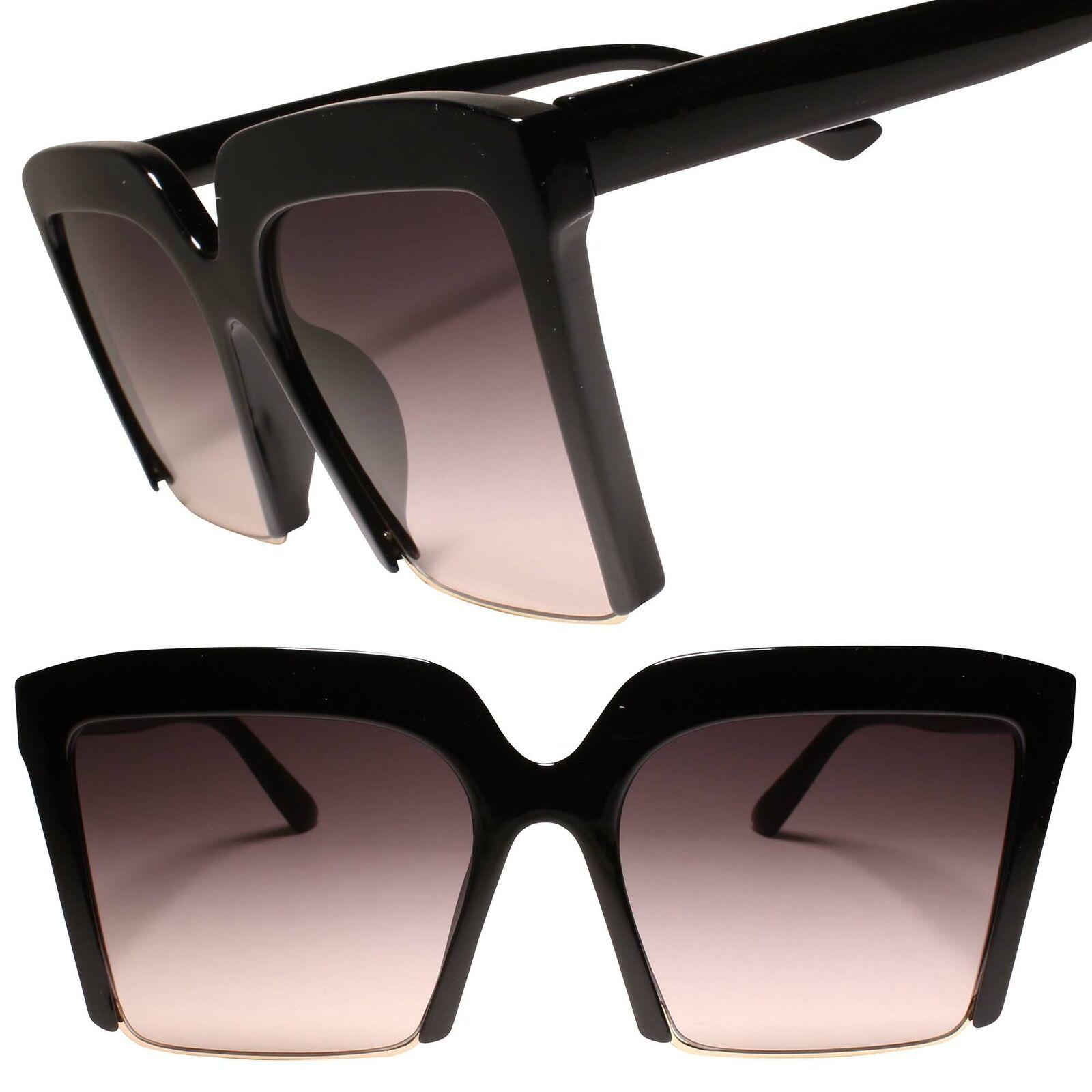 Classy Retro Oversized Exaggerated Womens Semi Rimless Black Square Sunglasses