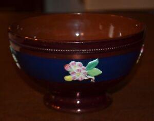 Antique-Sarreguemines-French-Copper-Lustreware-Pedestal-Bowl-Raised-Flowers