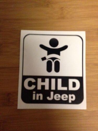 Child in Jeep Vinyl Sticker on board wrangler rubicon off-roading girl boy baby