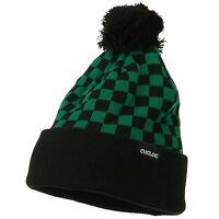 Green & Black Pom Pom Ski Checker Winter Skull Warm Cuffed Long Knit Beanie Hat